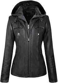 newbestyle womens hooded faux leather