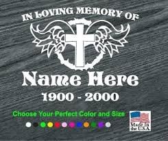 In Loving Memory Vinyl Decal Stickers Cross Wings Sticker Flare Llc