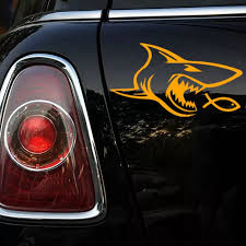 1383569400 Ck3299 Shark And Fish Reflective Funny Car Sticker Vinyl Decal Waterproof Car Auto Stickers Silver Black For Bumper Automobiles Motorcycles Exterior Accessories