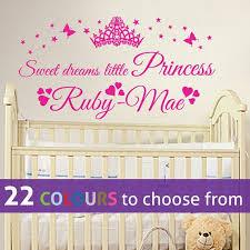 Princess Sleep Here Personalisation Name Bedroom Butterflies Decal Wall Stickers