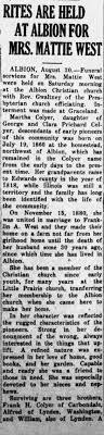 Obituary for MATTIE WEST - Newspapers.com