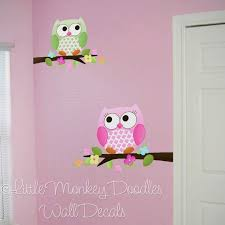 Fabric Wall Decals Owls Love Flowers Girls Nature Forest Bedroom Playroom Baby Nursery Kids Wall Art Decals Art Wall Kids Owl Room Owl Bedrooms