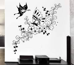 Vinyl Decal Beautiful Butterfly Flower Ornament Wall Sticker Plant Pat Wallstickers4you