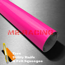 Gloss Fluorescent Neon Pink Car Vinyl Wrap Sticker Decal Bubble Free Film Diy For Sale Online