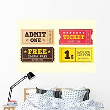 Amazon Com Wallmonkeys Movie Theater Tickets Wall Decal Peel And Stick Graphic 60 In W X 40 In H Wm342687 Furniture Decor