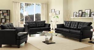 stunning black leather furniture living