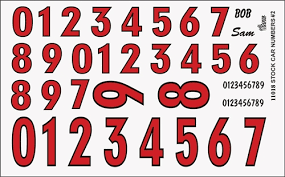 Model Car Decals 1 24 1 25 Scale Decals Gofer Racing Racing Numbers Red Decal Sheet