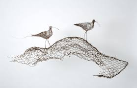 Artchipel — Celia Smith - Curlew Calling wire wall drawing /...