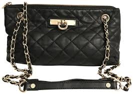 dkny quilted black gold nappa leather