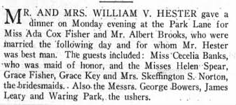 Fisher, Ada Cox. Dinner pre-marriage to Albert Brooks 03 Jul 1926 Brooklyn  Life - Newspapers.com