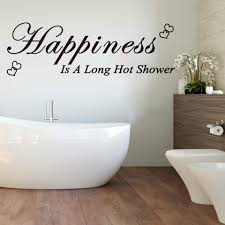 Happiness Is A Long Hot Shower Heart Wall Decal Bathroom Washroom Happiness Quote Wall Sticker Lavatory Vinyl Home Decor Wall Stickers Aliexpress