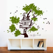 Wall Decal Tree House Raccoon Coon With Fox Owl Butterflies Dots And Saying Many Happy Moments Bicolors M1789 Wall Decals Bumper Sticker Murals Bags Cups Backpacks And Many More At Www Deinewandkunst Com