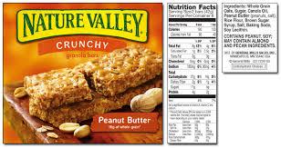 nature valley granola bars nutrition label