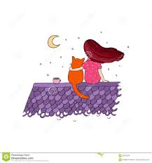 Flicka Och En Katt På Taket Vektor Illustrationer - Illustration ...