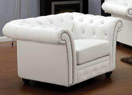 32 white leather chair with nailheads
