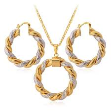 two tone gold plated pendant necklace