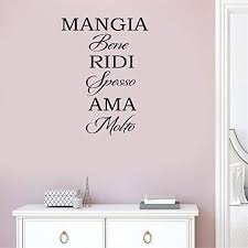 Amazon Com Gisuily Wall Sticker Quote Wall Decal Removable Vinyl Mangia Bene Ridi Spesso Ama Molto For Living Room Bedroom Home Kitchen