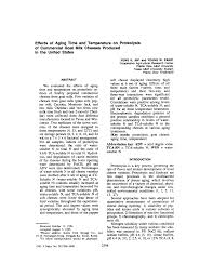 Effects of Aging Time and Temperature on Proteolysis of ...