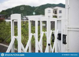 White Stainless Steel Barrier Gate For Protection In External Traffic Stock Image Image Of Door Fence 154380221