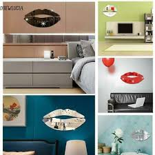Hot Kiss Lip Shape Self Adhesive 3d Mirror Wall Stickers Decal Room Decorations
