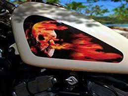 Amazon Com East Coast Vinyl Werkz Fuel Tank Decals For Harley Davidson Sportster Flaming Skull Easy To Apply Kit Automotive