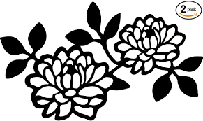 Amazon Com Usc Decals Dahlia Flower Isolated On White Background Black Set Of 2 Premium Waterproof Vinyl Decal Stickers For Laptop Phone Accessory Helmet Car Window Bumper Mug Tuber Cup Door Wall Decoration