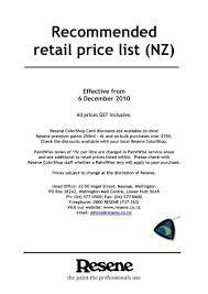 retail list in nz of resene