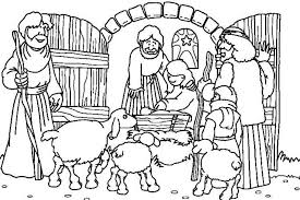 Kleurplaat Herders In De Stal Bijbelknutselwerk Bijbel Kleurplaten