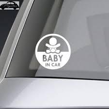 Baby In Car Waving Baby On Board Safety Sign Cute Car Decal Vinyl Sticker Baby In Car Vinyl Stickersin Car Aliexpress