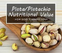nutritional value of pista pistachios