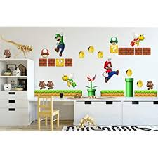 Amazon Com New Super Mario Brothers Wall Stickers Home Kitchen