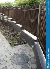 Wooden Fence On A Metal Frame Stock Photo Image Of Decoration Building 181317902