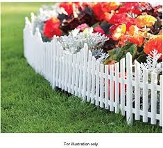 Mdl Set Of 3 Mini White Garden Picket Fence Panels Plastic Lawn Edging For Plant Borders And Flowerbeds Amazon Co Uk Kitchen Home