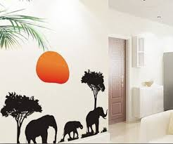 Amazon Com African Elephants Trees Sunset Removable Vinyl Wall Stickers Mural Home Art Decal Kids Room Decor Home Kitchen