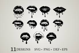 dripping lips bundle graphic by