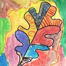 texture leaves art lesson for kids