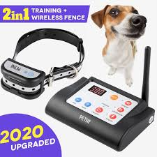 Amazon Com Wireless Dog Fence Outdoor Electric Training Collar Pet Containment System 2 In 1 For Dogs Safe Outdoor Waterproof Electric Beep Vibration Shock Collar With Remote 5 Levels Adjustable Range Control