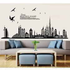 Black Dubai City Buildings Wall Sticker Vinyl Self Adhesive Skyline Wall Art Decal For Living Room Bedroom And Office Decoration Removable Removable Decals For Walls Removable Kids Wall Decals From Jy9146 4 03