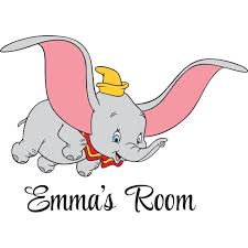 Personalized Name Vinyl Decal Sticker Custom Initial Wall Art Personalization Decor Girl Boy Dumbo Flying Elephant Cartoon 12 Inches X 12 Inches Walmart Com Walmart Com
