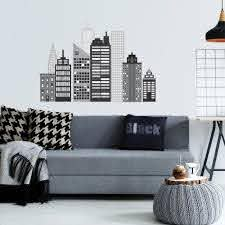 Cityscape Wall Decal Black And White City Skyline Matte Fabric Wall S