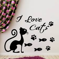 I Love Cat Quotes With Cute Cat Silhouette Wall Stickers Home Bedrooms Special Decor Vinyl Wall Murals With Fish Patterns Wm 444 Cat Quotes Decorative Vinylwall Mural Aliexpress
