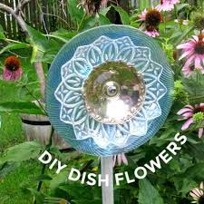garden art flowers from dishes
