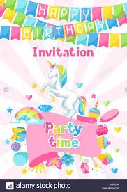 Invitacion A Fiesta De Cumpleanos Feliz Con Unicornio Y Elementos De Fantasia Imagen Vector De Stock Alamy