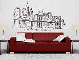 Large Nyc New York City Taxi Silhouette Bedroom Wall Art Sticker Wall Decal