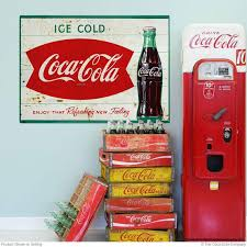 Ice Cold Coca Cola Fishtail 1960s Wall Decal Distressed Etsy
