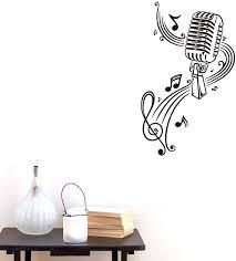 Amazon Com Bibitime Classroom Vinyl Decal Music Karaoke Microphone Wall Art Musical Notes Vinyl Sticker For Ktv Bar Background Pvc Decorations M 22 44 X 14 56 Kitchen Dining
