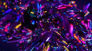 wallpaper crystals digital art purple