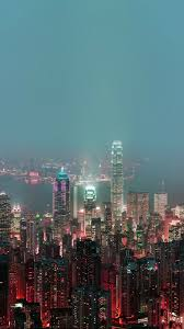 skyline hongkong fire city night live