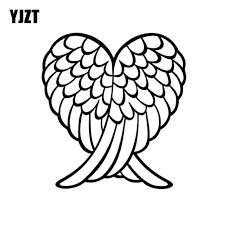Yjzt 14 3 15 5cm Fashion Angel Wings Heart Feather Vinyl Decals Car Sticker Black Silver S8 1515 Car Stickers Aliexpress