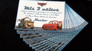 Tarjetas Invitaciones Cumpleanos Cars Rayo Mcqueen Mcquinn 22